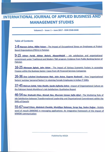 International Journal Of Applied Business And Management Studies Ici Jour